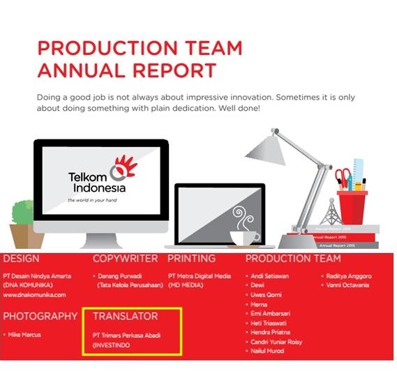 Telkom acknowledges Investindo in 2015 Annual Report
